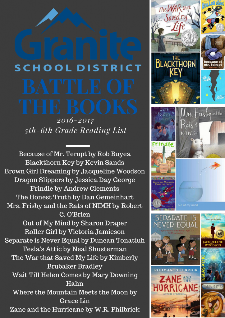 2016-17 Battle of the Books 5th-6th Reading List