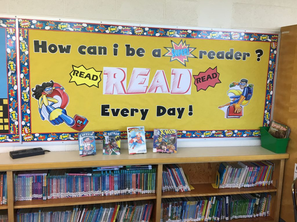 Superhero theme and displays at Crestview Elementary Media Center