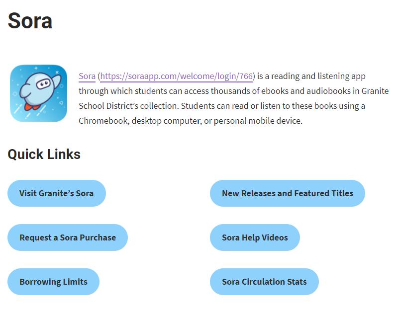 Screenshot of Granite's Sora Resources Page