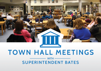 Photo of parents at town hall meeting with text 'Town Hall Meetings with Superintendent Bates'