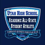 """Vector of shield and scroll with text 'Utah High School Academic All-State Student Athlete"""""""