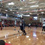 Utah Jazz players playing basketball at Granger High School