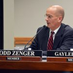 Board member Todd Zenger addressing audience