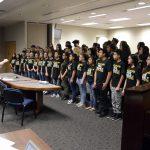 West Lake STEM students sing during board meeting.
