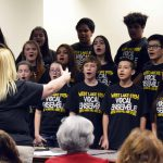 West Lake STEM students sing during board meeting.