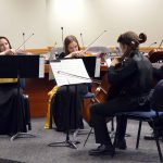 Cottonwood High string quartet play during board meeting