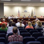 Member of the public addressing board of education