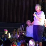 Teacher speaks to Hunter Elementary students